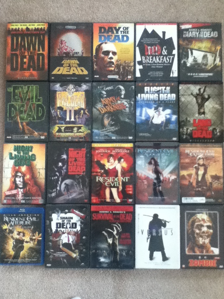 My zombie movie collection so far. See any of your favourites?